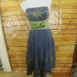 Betsey Johnson Evening blue & green silk dress